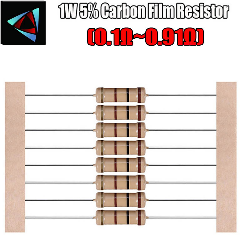 20pcs 1W 5% Carbon Film Resistor 0.1 0.12 0.13 0.15 0.18 0.2 0.22 0.24 0.27 0.3 0.33 0.39 0.47 0.5 0.56 0.62 0.68 0.75 0.82 Ohm