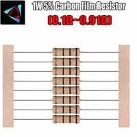Resistencia de película de carbono 20 piezas 1W 5%, 0,1, 0,12, 0,13, 0,15, 0,18, 0,2, 0,22, 0,24, 0,27, 0,3, 0,33, 0,39, 0,47, 0,5, 0,56, 0,62, 0,68, 0,75, 0,82 ohm