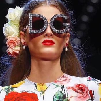 Fashion Diamond Round Sunglasses Women Luxury Brand Plastic Leg Oversized Sun glasses Vintage Shades Ladies Oculos Top