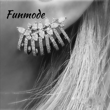Funmode Trendy top New AAA Cubic Zirconia Brincos Clear Stone Flower Stud Ear Cuff Earrings for Women Fashion Jewelry F004E