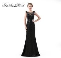 Vestidos Largos O Neck Back With Beading Mermaid Elegant Dress Sequin Lace Long Formal Women Evening Dresses Prom Party Dress
