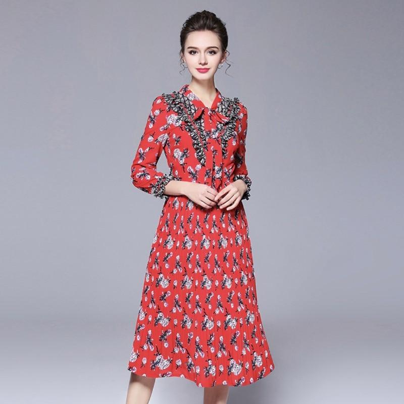 Maxi boho robe floral long vintage décontracté bohème élégant mousseline de soie grande taille femme rouge été manches longues plissée mince pr
