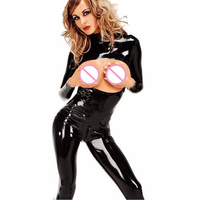 Fetish Leather Catsuits Women Body Sexy Hot Erotic 2 Way Zip Open Crotch Braless Bodysuit Club Wear Pole Dance Sexy Costumes
