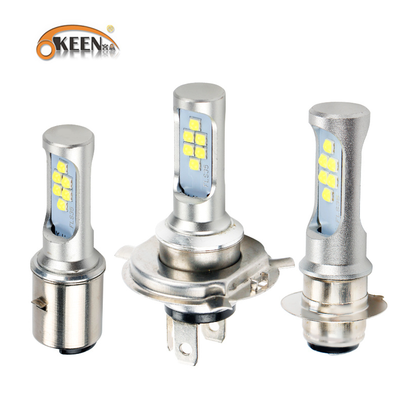 OKEEN 2PCS <font><b>H4</b></font> H6 P15D BA20D 12V <font><b>Led</b></font> Motorcycle Headlight Bulb <font><b>Canbus</b></font> Fog Light 12SMD 1200LM Hi Lo Lamp Moto headlight image