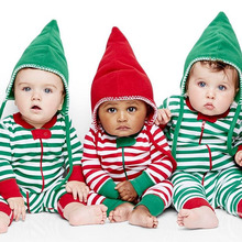 Stripe Newborn Baby Boy Girl Xmas Romper Jumpsuit Outfit Clothes 0-18M