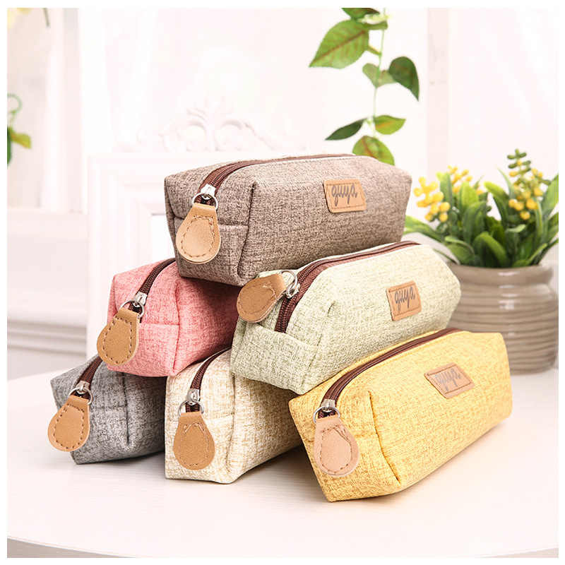 Cute PU Leather School Office Pen Bag Box Small Pencil Cases School Student Supplies Lapis Stationery Storage Korean Bag