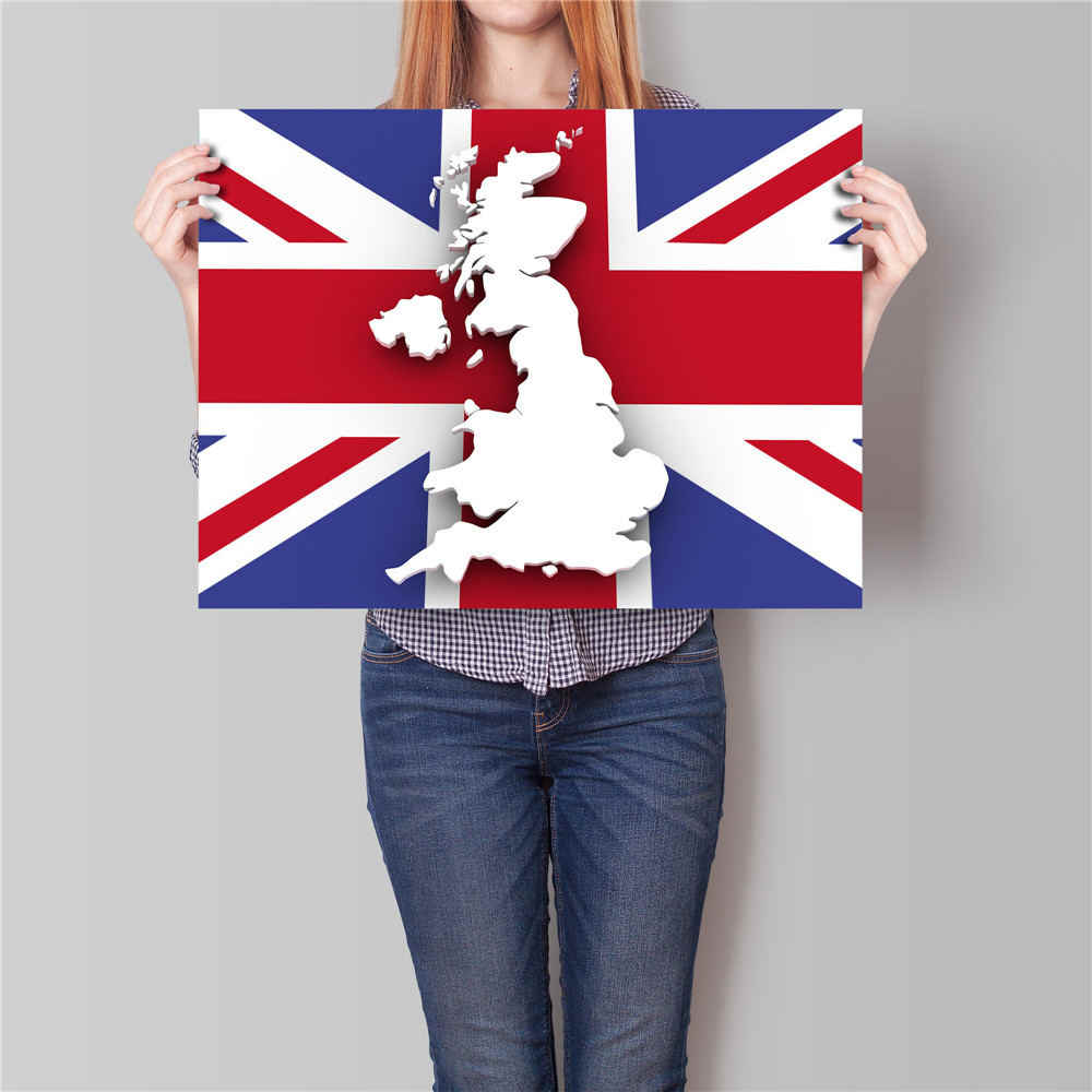 UK England Flag Country Map posterWall Sticker Bar Cafe Pub Decor Abstract painting Print Movie Poster Kraft Paper 42x30 cm