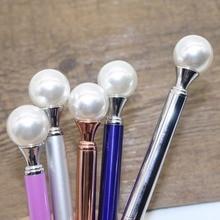 1Pcs Colorful Pearl metal Ballpoint pen 12 Colors Kawaii Queen's crutch BallPen For School Supplies boligrafos Blue&Black Refill