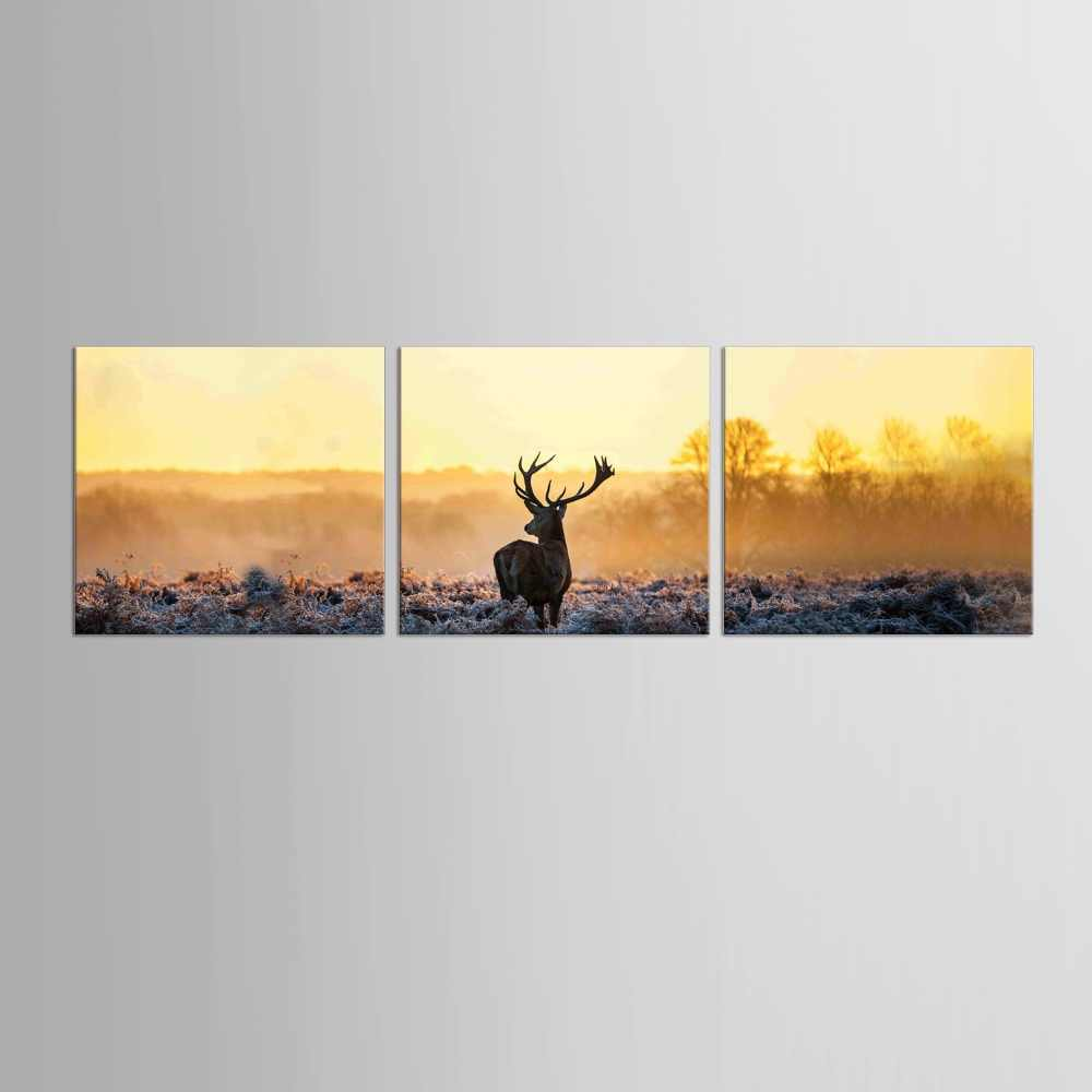 3 Panel Canvas Prints Elk In Forest Sunshine Winter canvas painting poster home decor fashion deer wall art for living room