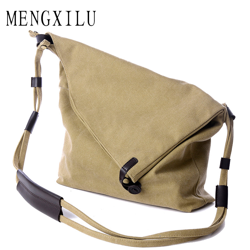MENGXILU Vintage Bucket Crossbody Bags For Women Messenger Bags Female Canvas Shoulder Bag Ldies Unique Designer Leather Handbag