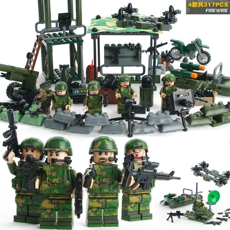 Noir 100pcs lots Militaire Jouet Soldats Militaire Modèle Ensemble de Jeu