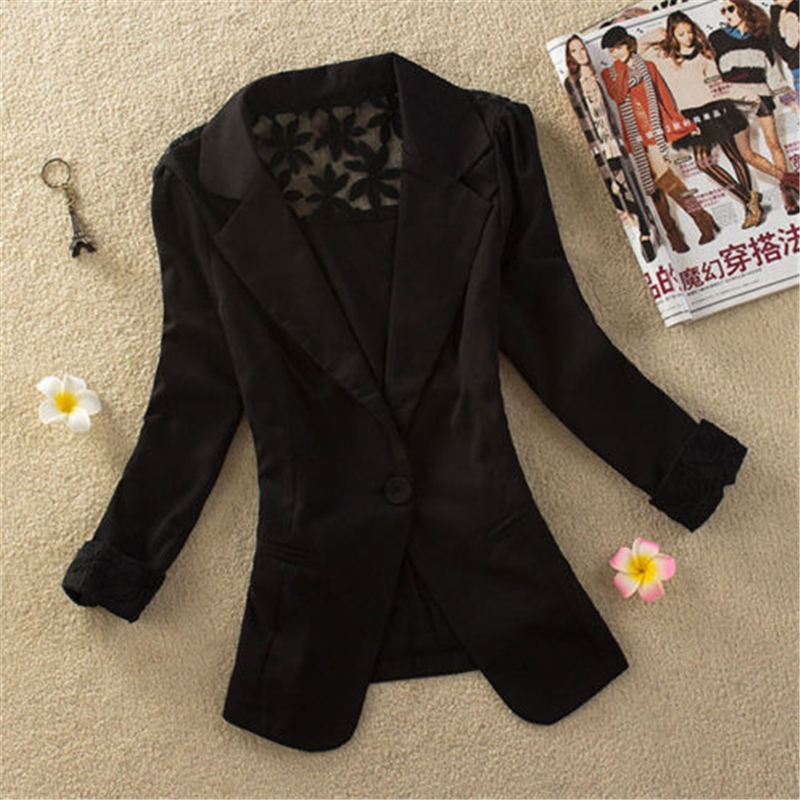 Women Stylish Crochet Lace Top Casual Suit Coat Jacket Blazer NEW Ladies 2016