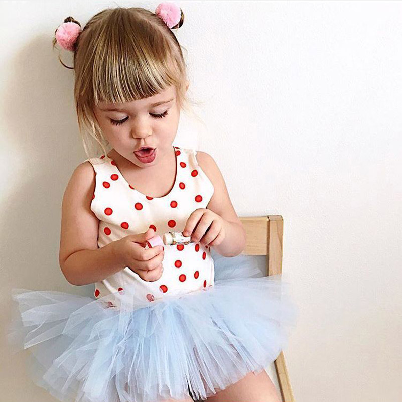 e0c116e577fc Baby Girls Romper Tutu Dresses 2018 Summer Floral Ruffles Dot Lace ...