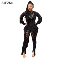ZJFZML Sheer Lace Sexy Black Bodysuit 2018 Women Long Sleeve Ruffles See Through Romper Elegant Ladies Hollow Out Party Catsuits
