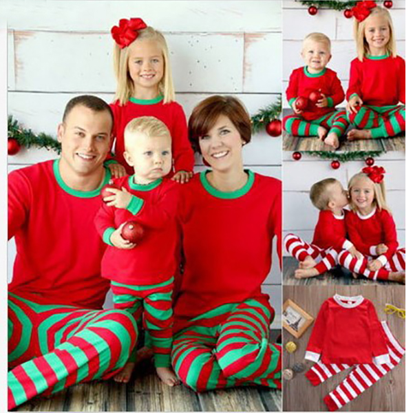 Family Matching Clothes 2017 Winter Family Christmas Pajamas Stripes Mother Father Son Outfits Baby Clothes New Year Costume