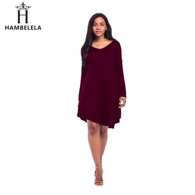 e895f81b40d6a Hambelela camiseta Vestidos para las mujeres Otoño 2017 moda casual  camiseta vestido negro rojo asimétrico de