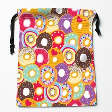 New Arrive donuts pattern Drawstring Bags Custom Storage Bags Printed gift bags More Size 27x35cm DIY your picture