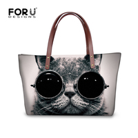 2016 Luxury Brand Women Handbag Casual Top Handle Bags For Ladies Kawaii Cute Black Cat Dog