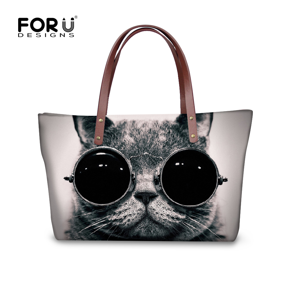 ФОТО 2017 Luxury Brand Women Handbag Casual Top-Handle Bags for Ladies Kawaii Cute Black Cat Dog Tote Bolsas Big Shopping Travel Bags