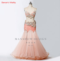 Adult Kids Belly Dance Suit Senior Handmade Diamond Bra and Mesh Fishtail Skirt 2pcs Sets For Women Dancing Performance Costume