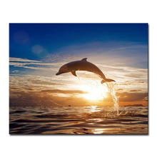 DIY Painting By Numbers Dolphin Sea On Canvas Kits Coloring Abstract Sunrise Sailboat Seascape Oil Pictures Home Decor Wall Art