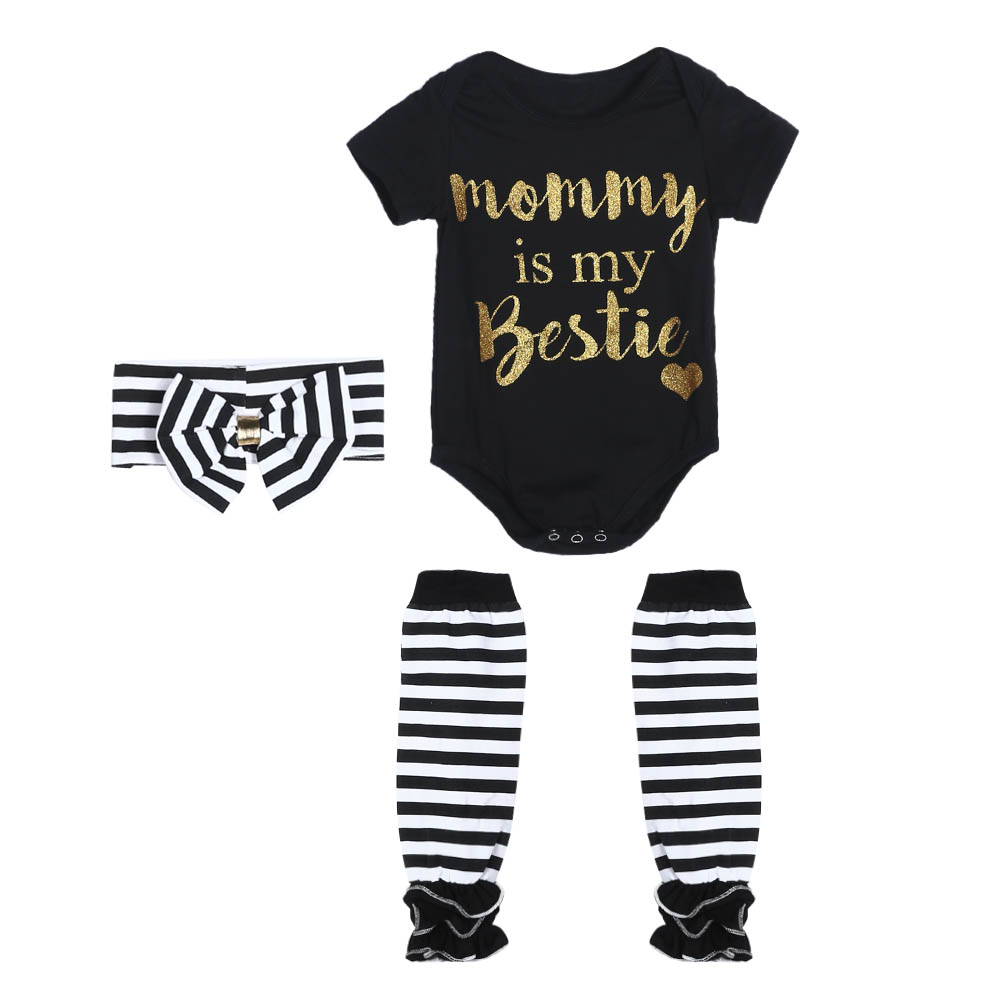 kissbuyonline Newborn Baby Romper Casual Boy Girl Infant Jumpsuit Bodysuit Sets with Hairband Stocking Letter Printed One-piece Outfit