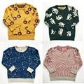 BBK bobochoses New 2016 glasses palm diamond Star stripe pattern Cotton Pullover Kids Girls Knitted Sweater Christmas Outerwear