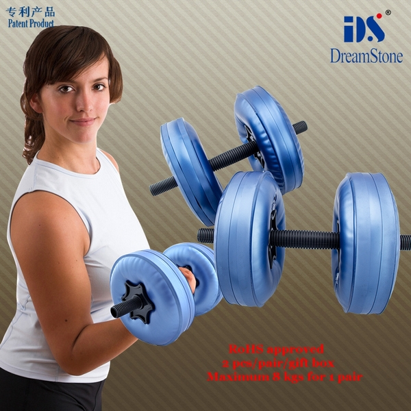 Free Shipping Fitness Equipment Water Poured Adjustable Dumbbell for Sale dumbbell female with RoHS approved