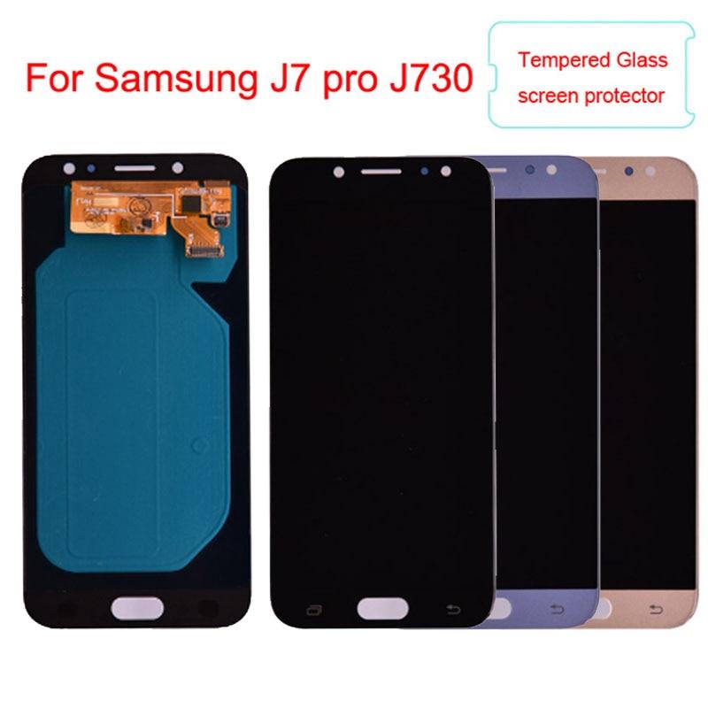 Super Amoled Pour Samsung Galaxy J7 Pro 2017 J730 J730F Écran LCD Avec Écran Tactile Digitizer Assemblée Réglage de La Luminosité
