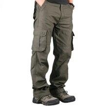 กางเกงขายาวของผู้ชายCasual Multiกระเป๋าทหารยุทธวิธีกางเกงOuterwear Armyตรงยาวกางเกงเสื้อผ้า