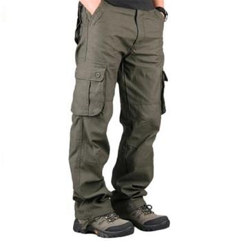 Męskie spodnie Cargo Casual wiele kieszeni taktyczne spodnie wojskowe mężczyźni odzież wierzchnia armia proste spodnie długie spodnie męskie ubrania tanie i dobre opinie Asstseries Cargo pants Mieszkanie Poliester COTTON Przycisk REGULAR 30 - 44 Pełnej długości Na co dzień Midweight Suknem