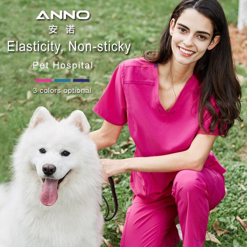 ANNO Medical Clothes Non sticky Hair Pet Hospital Clinic Work Wear Elasticity Fabrics Nursing Uniforms for Women Men