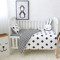 3Pcs Baby Bedding Set Cotton Crib Sets Black White Stripe Cross Pattern Baby Cot Set Including