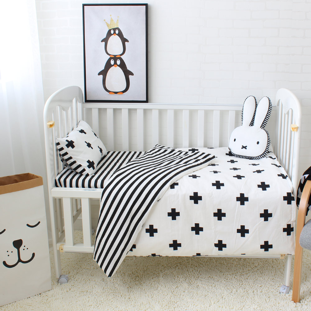 3Pcs Baby Bedding Set Cotton Crib Sets Black White Stripe Cross Pattern Baby Cot Set Including Duvet Cover Pillowcase Flat Sheet chinese pencil drawing book cute animals color pencil painting textbook tutorial art book