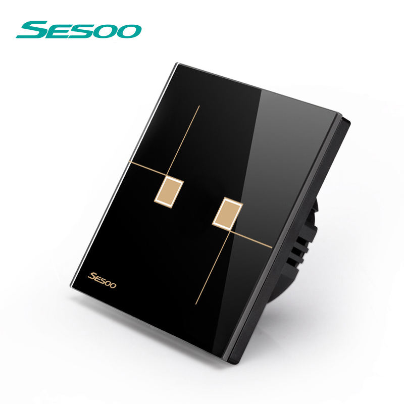 SESOO Remote Control Switch 2 Gang 1 Way, SY6-02 Black, Crystal Glass Switch Panel,Remote Control Wall Touch Switch sesoo remote control switches 3 gang 1 way wall touch switch crystal glass switch panel