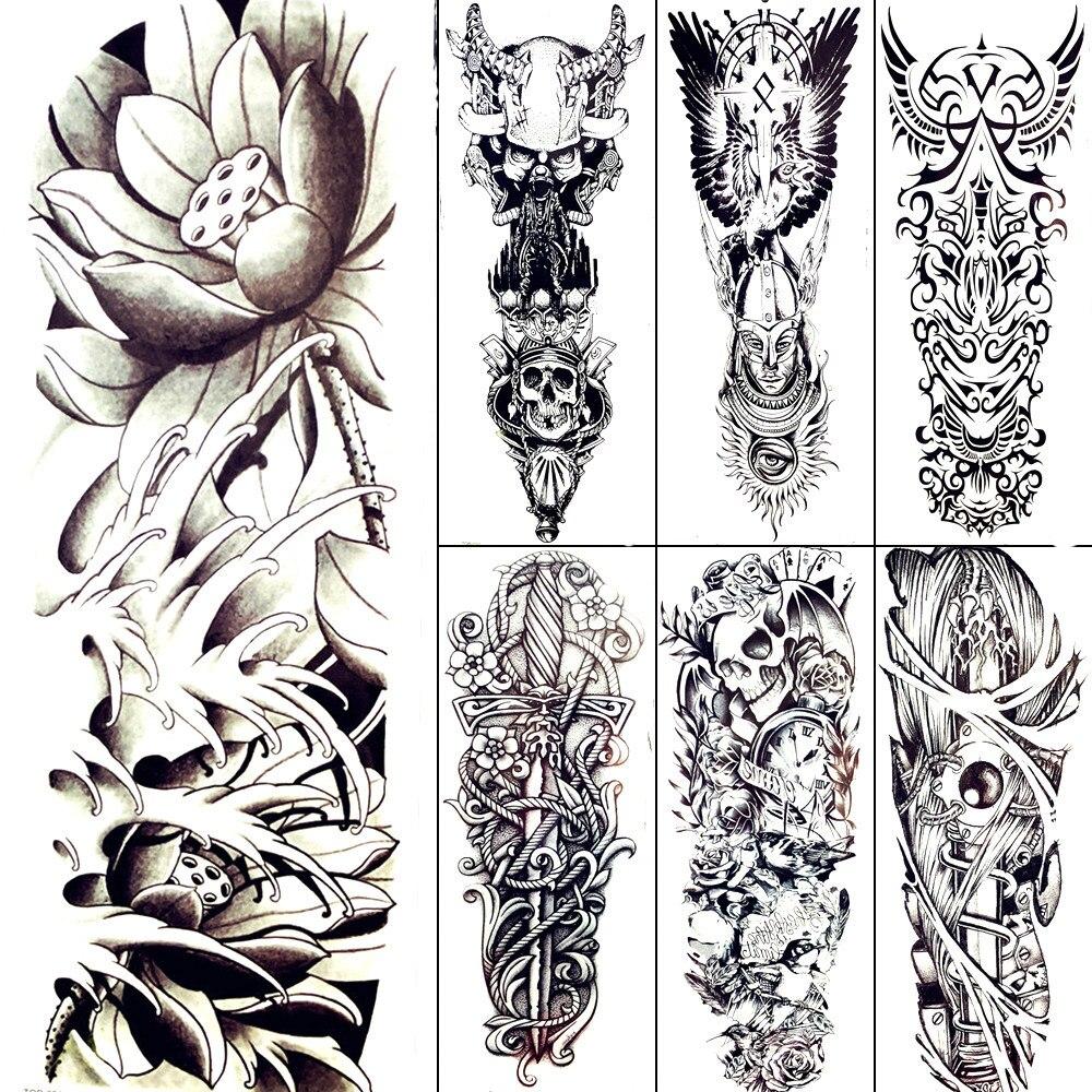 Us 169 Kobiety Duże Ciało Art Szkic Rysunek Tymczasowe Tatuaże Czarny Staw Buddyjscy Mężczyźni Naklejka Tatuaż Pełne Ramię Tatuaże Tatuaże Sexy