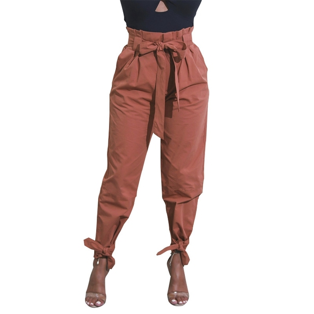 High waist bandage bow harem pants women ruffle fitted trousers black green  khaki brown casual loose be58a2abde2e