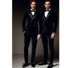 Fashionable men's suits Custom Double Breasted Men's Velvet Wedding Groom Tuxedo Groomsman Best Man Suit