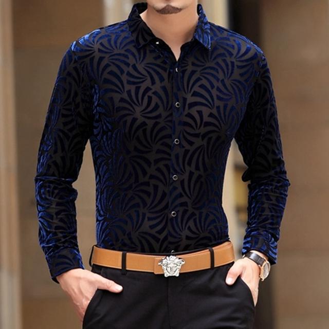 Diamond pattern velvet hollow high-end boutique long sleeve shirt Autumn&Winter silkworm silk soft quality men shirt M-XXXL