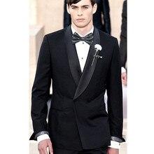 mens black tuxedo double breasted groom tuxedo for wedding dress custom made suit 2017 formal wear