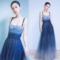 Fashion Show Stage Charm Bling Stars Women Strapless Sequins Max Evening Party Dresses Female Host Long