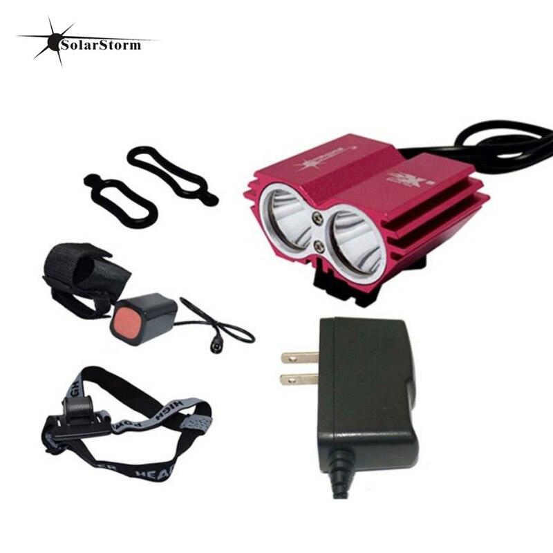 Solarstorm Bicycle Light 8000 Lumens 6400mAh Battery LED Cycling Headlamp Bike Lamp + laser Rear Light Bicycle Accessories аккумулятор d minamoto r20 8000 mah nimh 2 штуки