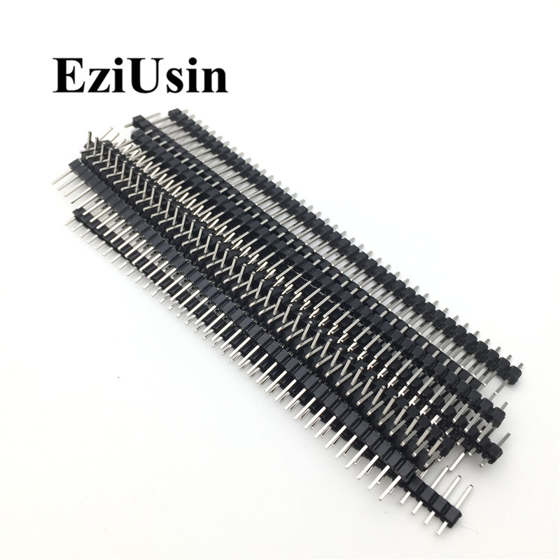 20pcs 10 pairs 40 Pin 1x40 Single Row Male and Female  2.54 Breakable Pin Header PCB JST Connector Strip for Arduino Black 4