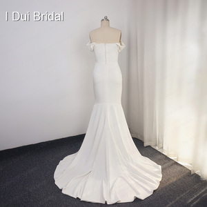 Image 5 - Simple Crepe Sheath Wedding Dress Elegant Bridal Gown High Quality Off Shoulder 2020 New Style