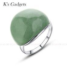 K гаджетов 2017 Новый Классический Юбилей овальное кольцо серебро Цвет Регулируемый Для женщин кольцо Высокое качество Природный камень Кольца