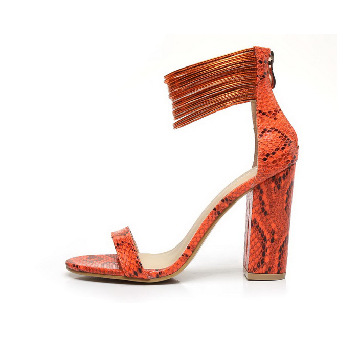 ФОТО Fashion woman sandals thick heel top high heels snake pattern and solid  can choose  five color for your selection comfortable