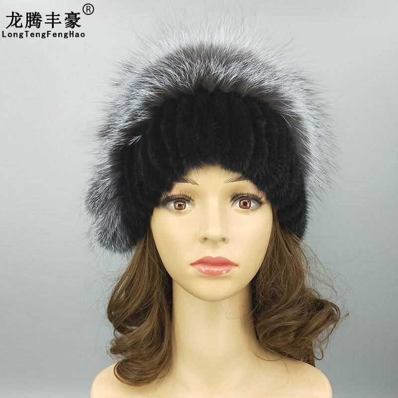 Winter Genuine Mink Fur Women s Cap Real Fox Fur Big Pompom Design Fashion Stripe Warm