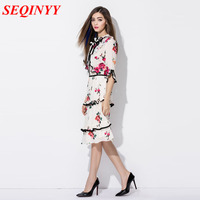 Cute Dress 2017 Korea Fashion Half Sleeve White Flowers Print Princess Women Summer Novelty Slim Designer