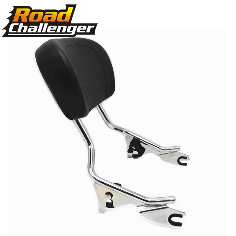 Black/chrome Sissy Bar Upright Passenger Backrest W/ Pad For Harley Touring Street Glide Road Glide 2009-2018