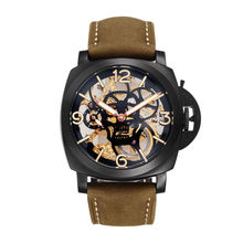 Parnis SKULL Seriers Luminous Mens Leather Watchband Fashion Mechanical Watch Wristwatch